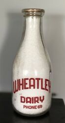 RARE Wheatley Dairy - Ontario Milk Bottle Quart Red Silk Screen - Milk Man