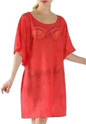 New Womens Kelly Klark Swimsuit Crochet Cover Up Dress Coral Red Large W365 $10.99