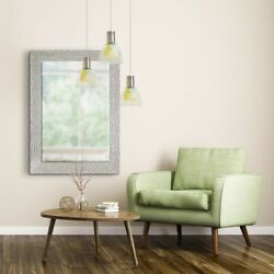 Decorative Mirror Wall Hanging Accent Framed Bedroom Living Room White Silver $116.95