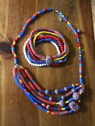 NWOT She-Beads Handmade Clay Beads Necklace and Bracelet Set