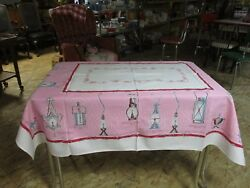 Vintage Table Cloth Great Condition Old Lanterns 50 by 58 $89.00