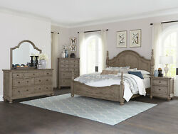 Traditional Cottage Gray Bedroom Furniture - HOLDEN 5pcs Queen or King Bed Set