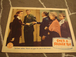 SHE'S A SOLDIER TOO lobby card COLUMBIA PICTURES 1944