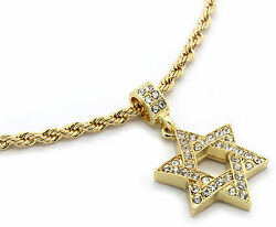 Men Gold Plated Star Of David Cz Pendant Hip Hop 24quot; 4mm Rope Necklace Chain M3 $12.99
