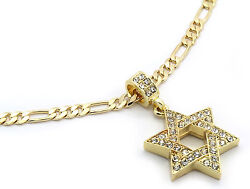 Men Gold Plated Star Of David Cz Pendant Hip Hop 24quot; Figaro Necklace Chain M2 $13.99