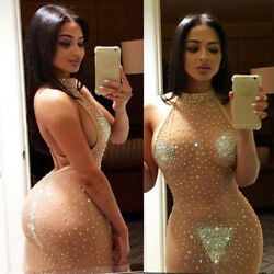 Women Sexy Sequins See Through Halter Dress Evening Bodycon Party Dress Clubwear $12.09