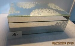 Tahari Home Mirrored Jewelry Trinket Box. Etched Glass Flower Design