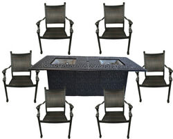 7 Piece  Aluminum Outdoor Wicker Patio Dining Chair Set Propane Fire Pit Table.