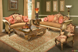 Regalia Traditional Hand Carved Formal Sofa Set with Solid Wood Frame