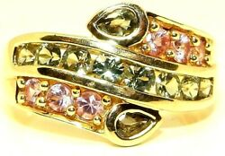 9CT YELLOW GOLD PINK GREEN TOURMALINE ABSTRACT CLUSTER RING Size M