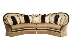 Luna Classic Beige Fabric Sectional Sofa&Pillows Exposed Solid Wood FrameBrown