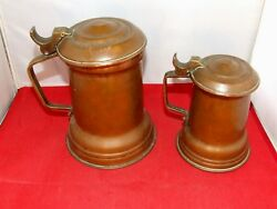 2x Copper + Brass Lidded Tankard Stein Beer Ale 1+ 2 Pint Vintage  Antique