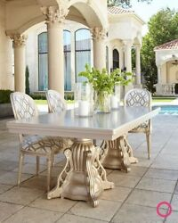 Outdoor Double-Pedestal Dining Table Decorative Carved BaseNeiman Marcus Horchow