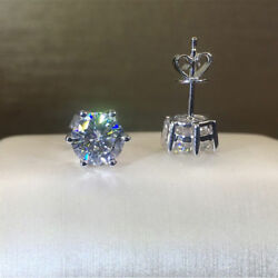 1.50 Ct Round Cut Diamond Solitaire Earrings Stud Solid 14K White Gold Finish