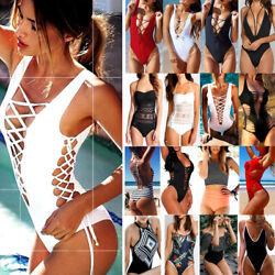 One Piece Bandage Push up Monokini Bikini Women#x27;s Swimwear Swimsuit Bathing Suit $12.21