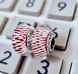 2 pieces Pandora silver 925 Red White Net   Charm Beads