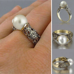 Classic Women's Imitation Gold Plated White Pearl Ring Hollow Out Decor Sz 5-12