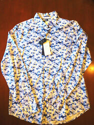 Spring beach flower slim fit floral long sleeve Button Front shirt Large