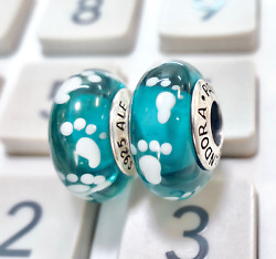 2 pieces Pandora silver 925 Ale White  Teal Baby Foot Print  Charm Beads