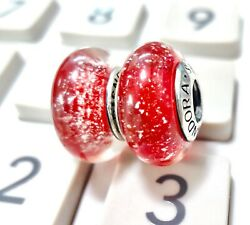2 pieces Pandora silver Disney Snow White Red Shimmer  Murano Beads Charm