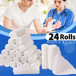 4'' Gauze Roll Bandage Sterile Stretch Medical Tape First Aid Wound Care 24 Pack $9.99