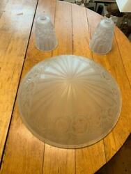 Art Deco Frosted Glass Chandelier Shades 3 Pieces Nice $499.99