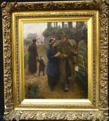 Large English Circa 1918 WWI Return Home From War Scene by Sir Amédée Forestier