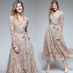 Spring Womens Fashion Temperament V-neck Lace Hollow Out High Waist Dress Ske15 $21.38