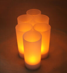 6 Rechargeable Tealight FLICKER Flameless LED Candle wedding event with CHARGER $19.79