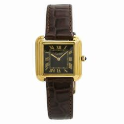 Cartier Electroplated Carre Women's Vintage Hand Winding Watch Gold Plated 28MM