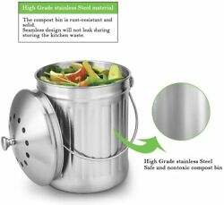Leak Proof Stainless Steel Compost Bin 1.3 Gallon Easy to Clean $27.24