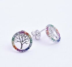 925 Sterling Silver Rainbow Multi Color Cz Crystals Tree Of Life Stud Earrings