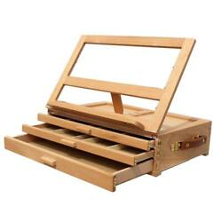 Art Adjustable Artist Beech Wooden Tabletop Sketch Box Easel 3-Drawer Portable