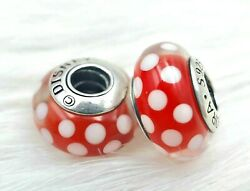 2 Authentic   Pandora silver 925 ALE White Red Disney Mickey Charm Beads