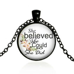 She Believed She Could so She did necklace Literary Jewelry Quote necklace black