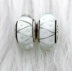 2 pieces Pandora silver 925  White Clear  Murano Beads Charm