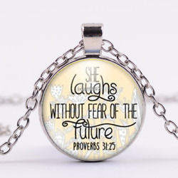 She Laughs Without Fear of the Future-Proverbs 31 necklace Religious Jewelry