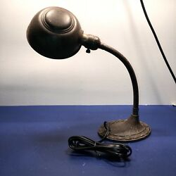 Antique Desk Lamp Wired Nice Patina Work Light Office 45F $200.00