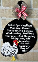 ROOSTER Kitchen Operating Hrs SKILLET SIGN Wall Chicken Decor Hanger Plaque $14.45