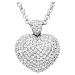 Pascuale Bruni puffed pave diamond heart pendant (3.25cts)  in 18k white...
