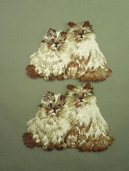2 Vintage Embroidered Cat Cats Kittens Himalayan Fluffy Iron On Patch Medium $9.00