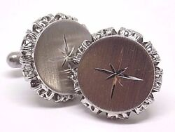 Vintage Rare Brushed Silver Star Cufflinks W Gift Box $29.99