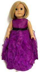 Purple Chiffon Gown Dress for 18 inch American Girl Doll Clothes $16.94