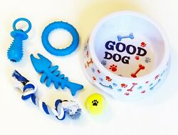 Dog Bowl with Toys Set Teething Chew Tug Assortment for Dog Breed Rope and Ball