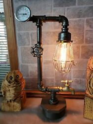 Handcrafted Industrial style Pipe Desktablesteampunk home decor lamp lighting