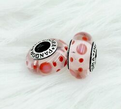 2 pieces Pandora silver 925  White Clear CZ  Murano Beads Charm