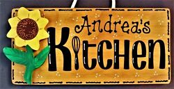 Personalize SUNFLOWER KITCHEN Name SIGN Wall Hanger Hanging Plaque Country Decor $14.45