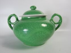 Republican Famille Rose Green Glazed Handcurved Dragon Porcelain Sugar Can