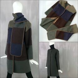 RARE Loro Piana Women REVERSIBLE CASHMERE Leather Trim Long Scarf Coat Size S 42