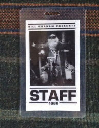 Grateful Dead Backstage Pass - New Years Eve 1986 Oakland CA -Staff Laminate